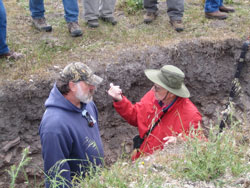 Dean Burkett and Terry Cook discuss the finer points of Soil Taxonomy.