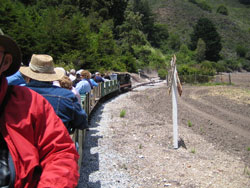 Riding the Swanton Pacific Ranch's railroad.