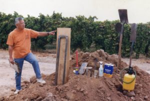 Kan Kim Chang building a California State Soil Monolith at CSU Fresno in 1998.